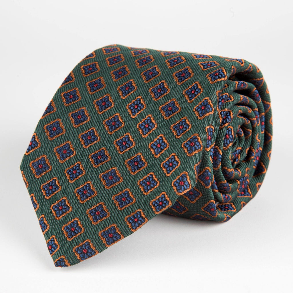 Green Diamond Flower Woven Silk Tie Hand Finished - British Made