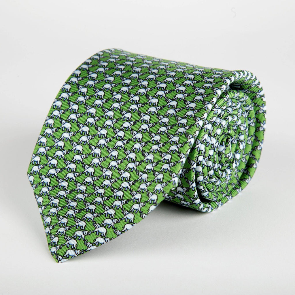 Green Elephant Printed Silk Tie Hand Finished - British Made