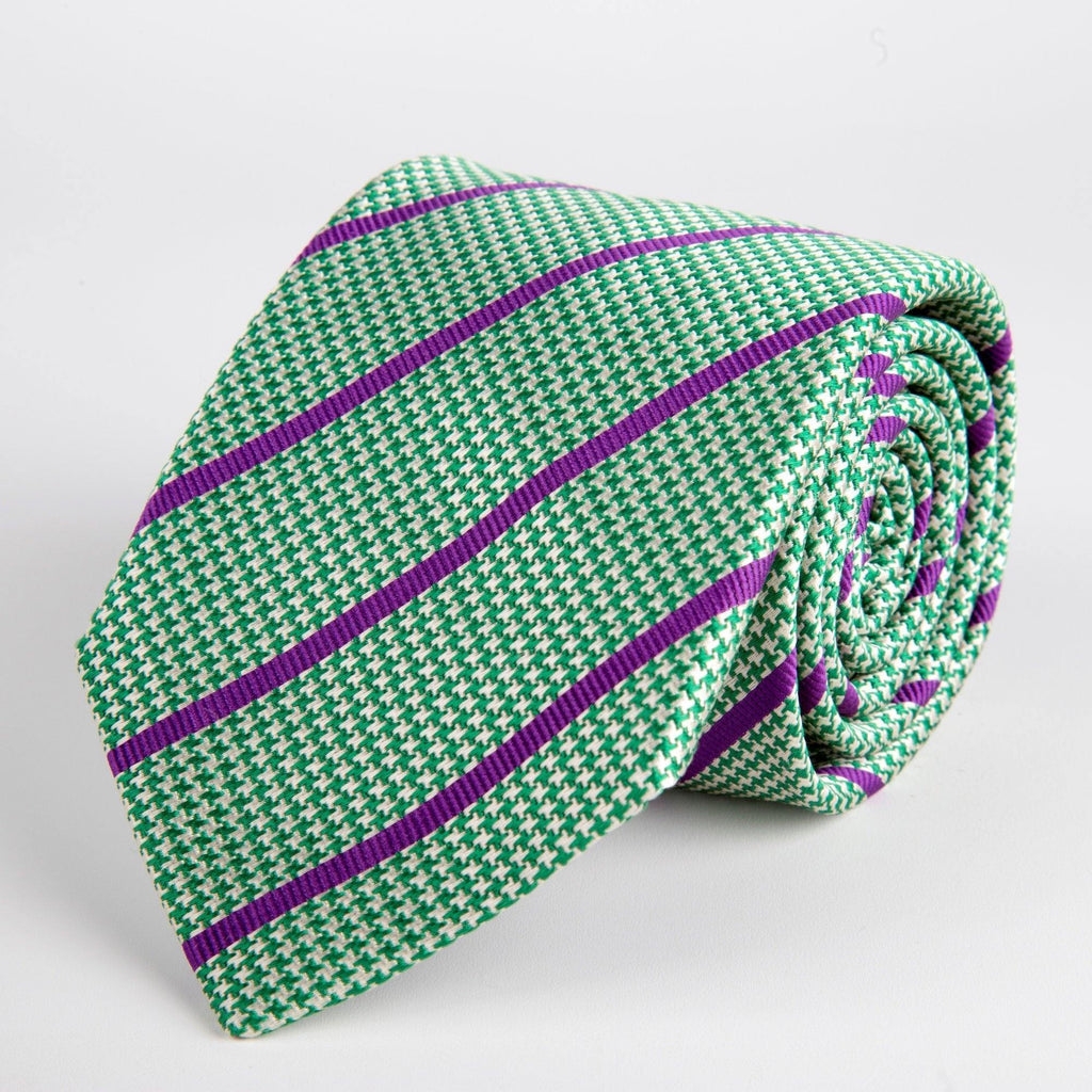 Green Houndstooth With Stripe Woven Silk Tie Hand Finished - British Made