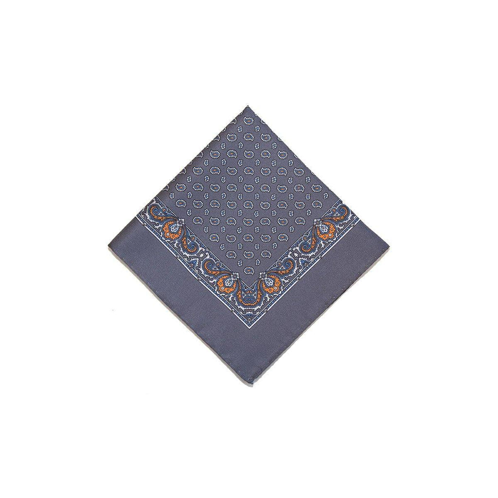 Grey Orange Tear Drop Silk Pocket Square With A Paisley Border - British Made