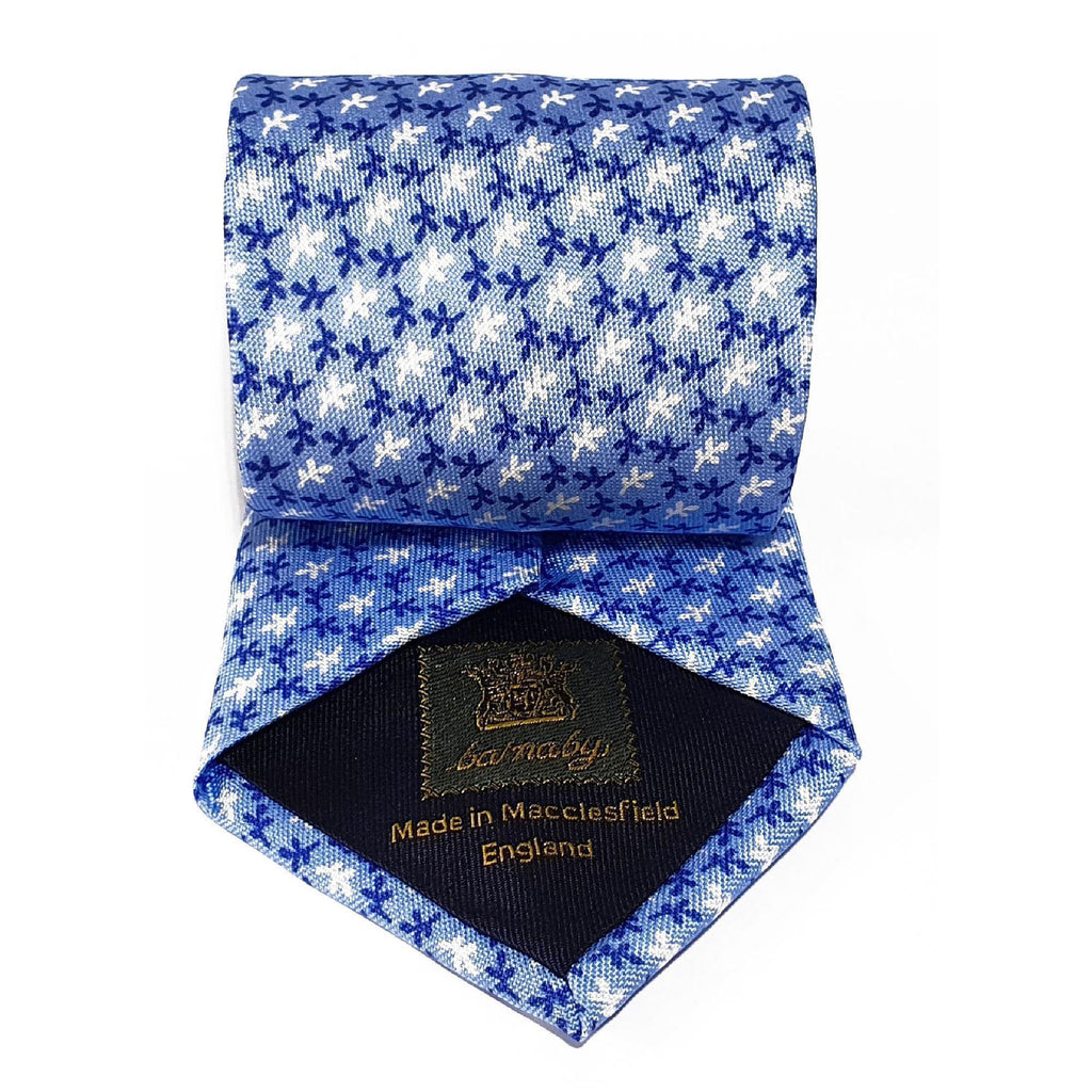 Light Blue Leaves Printed Silk Tie Hand Finished - British Made
