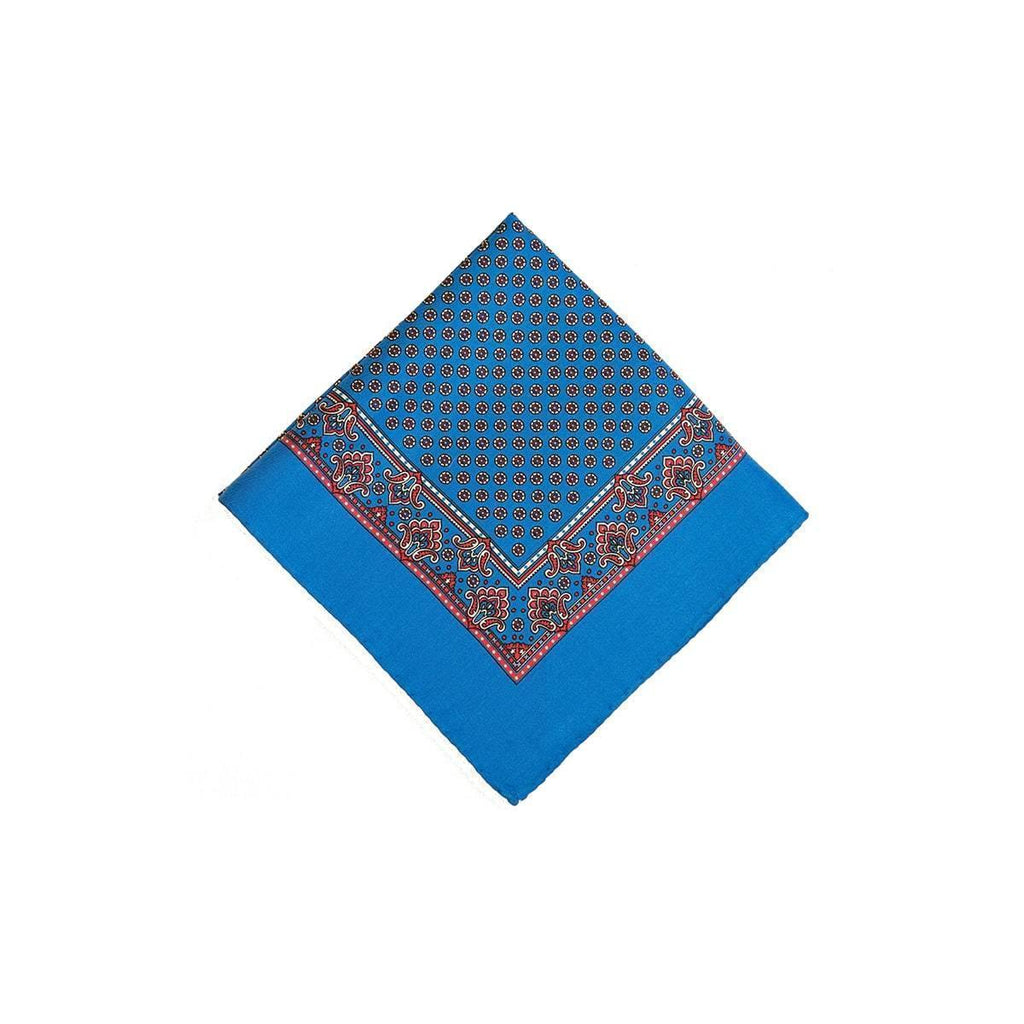 Mid Blue Red Circle Geometric Silk Pocket Square - British Made