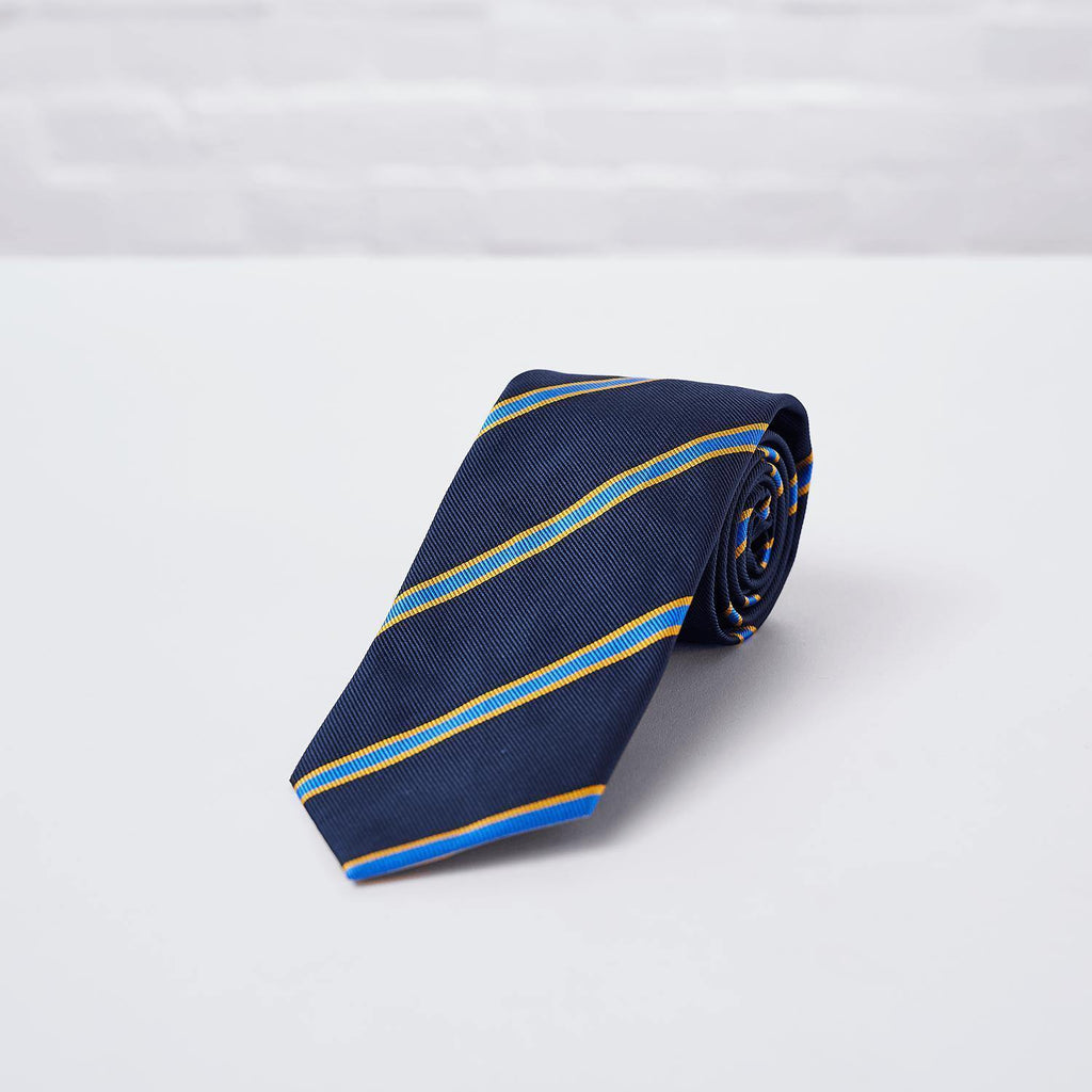 Navy Blue Striped Woven Silk Tie Hand Finished - British Made