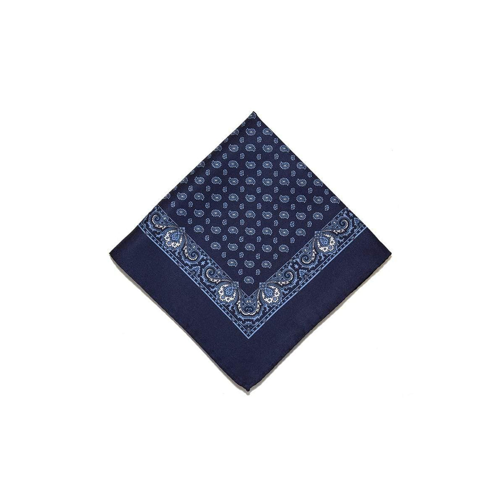 Navy Blue Tear Drop Silk Pocket Square With A Paisley Border - British Made