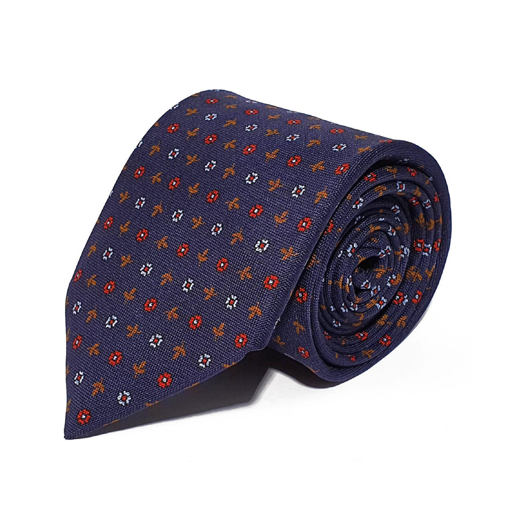 Navy Leaves & Flower Woven Silk Tie Hand Finished - British Made