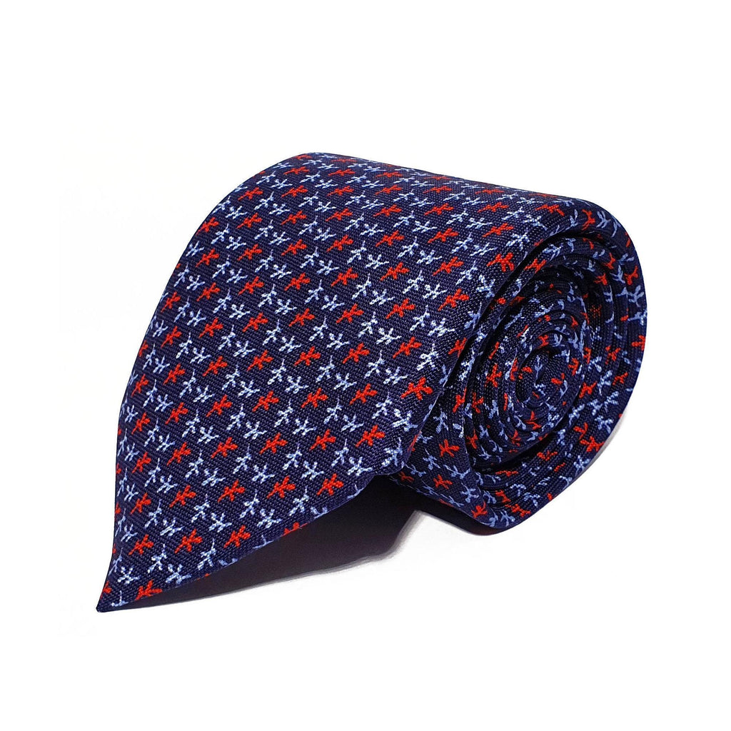 Navy Leaves Printed Silk Tie Hand Finished - British Made