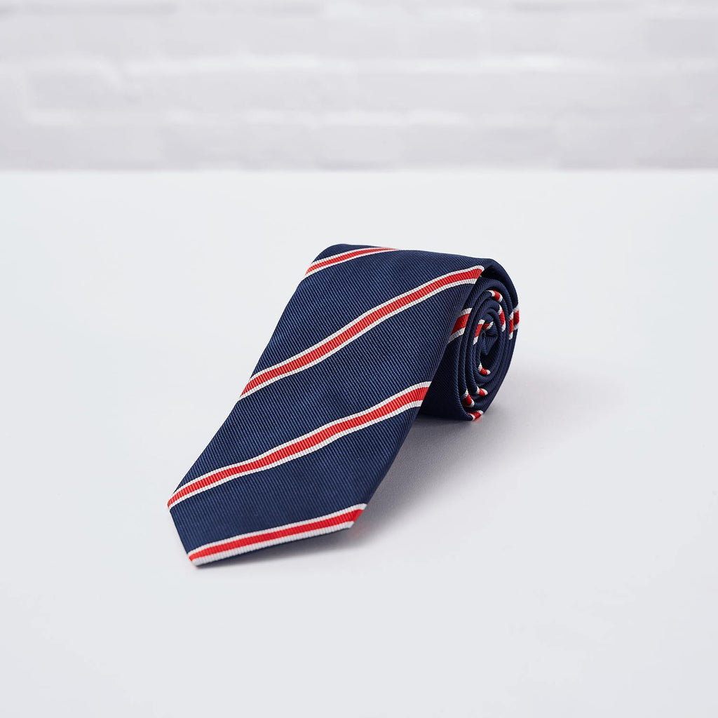 Navy Red Striped Woven Silk Tie Hand Finished - British Made