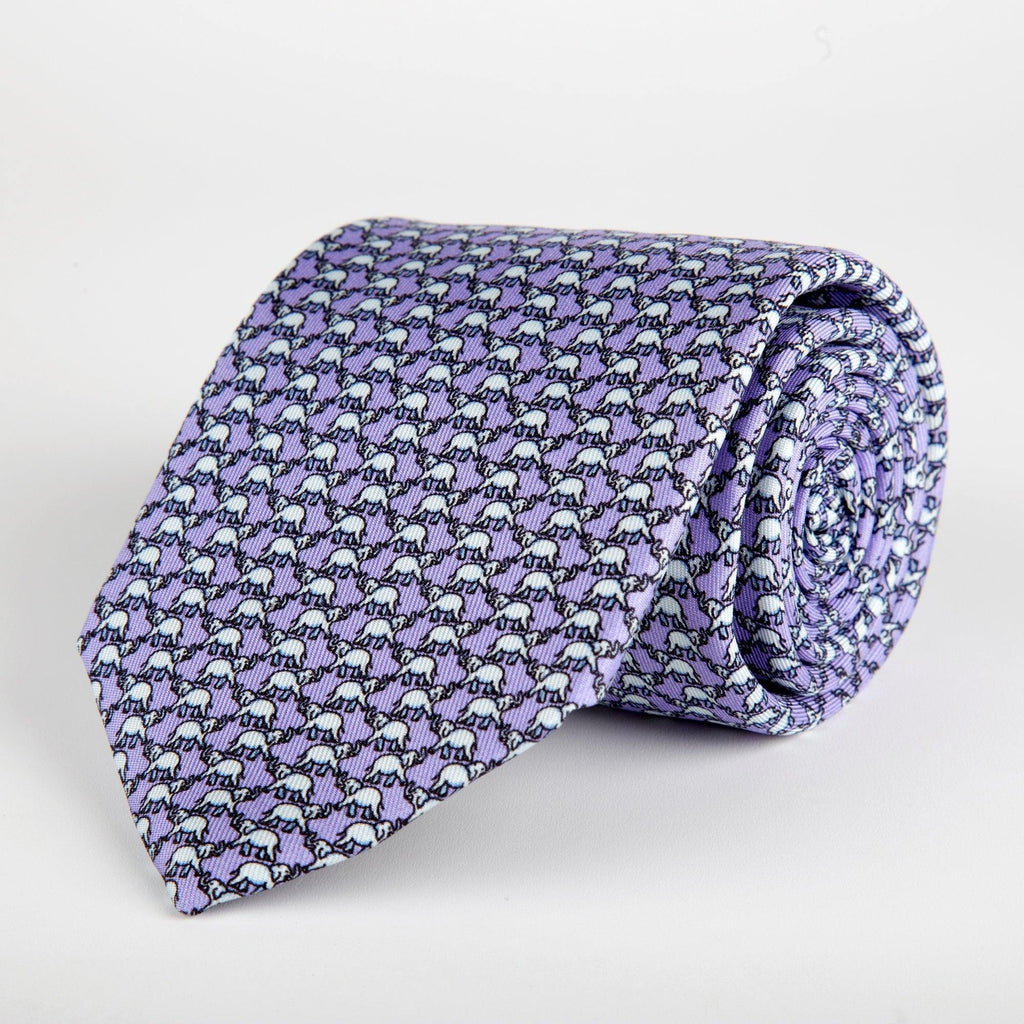 Purple Elephant Printed Silk Tie Hand Finished - British Made