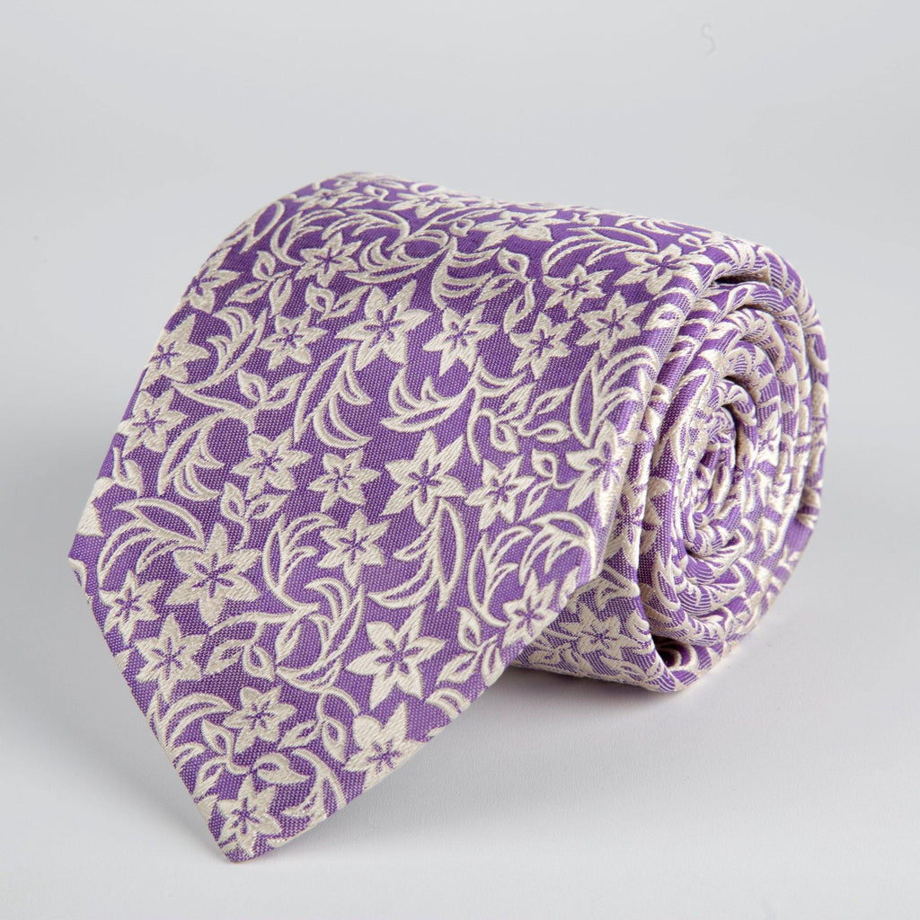 Purple Floral Woven Silk Tie Hand Finished - British Made