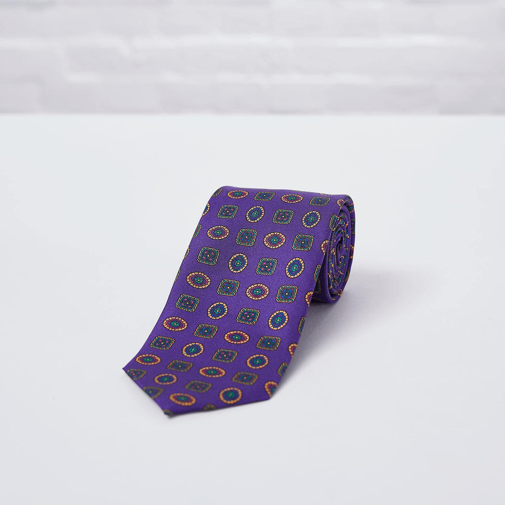 Purple Geometric Printed Silk Tie Hand Finished - British Made