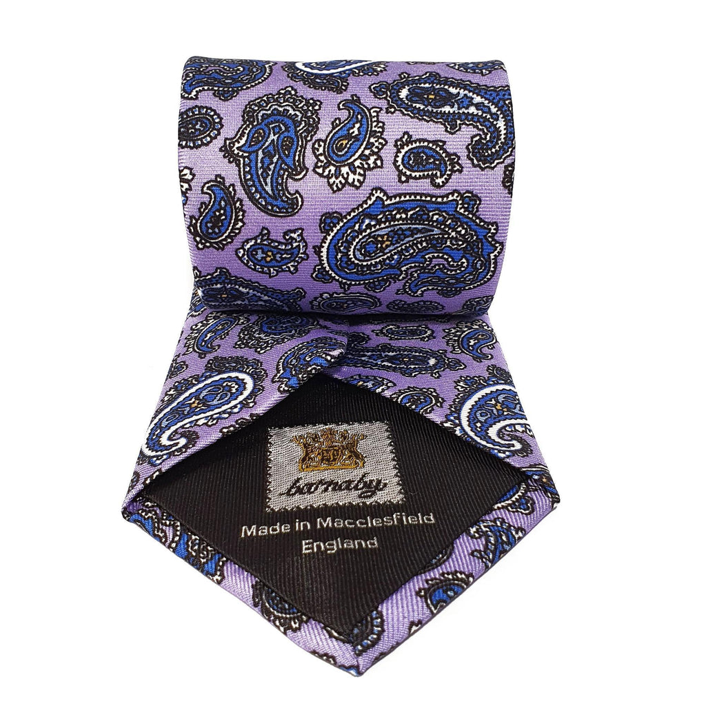 Purple Paisley Printed Silk Tie Hand Finished - British Made