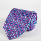Purple Seahorse Printed Silk Tie Hand Finished - British Made