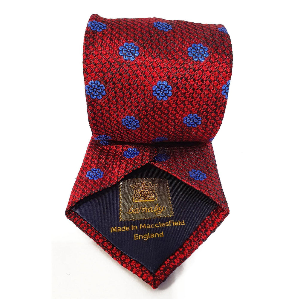Red Flower Woven Silk Tie Hand Finished - British Made