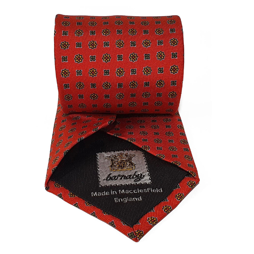 Red Neats Printed Silk Tie Hand Finished - British Made