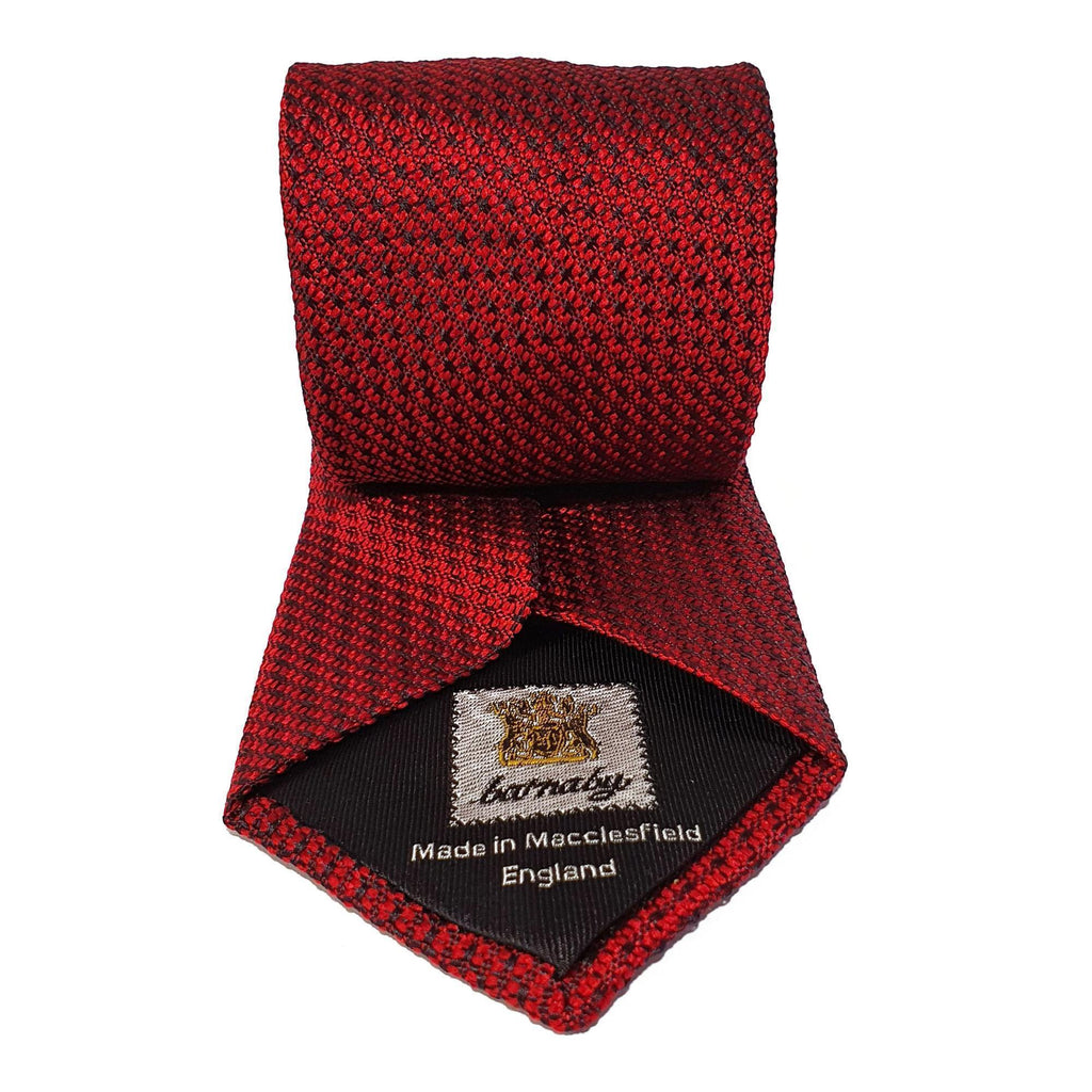 Red Plain Weave Formal Silk Tie Hand Finished - British Made