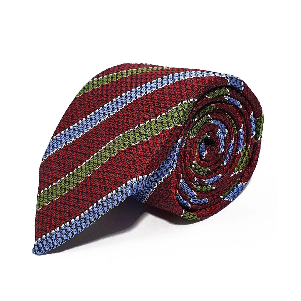 Red Stripe Silk Tie Woven Hand Finished - British Made