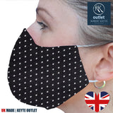 Silk Face Mask - Black Spot Design - 100% Pure Silk - British Made