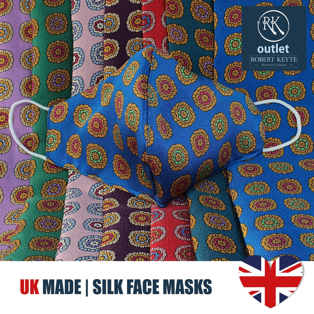 Silk Face Mask - Blue Medallion Design - 100% Pure Silk - British Made