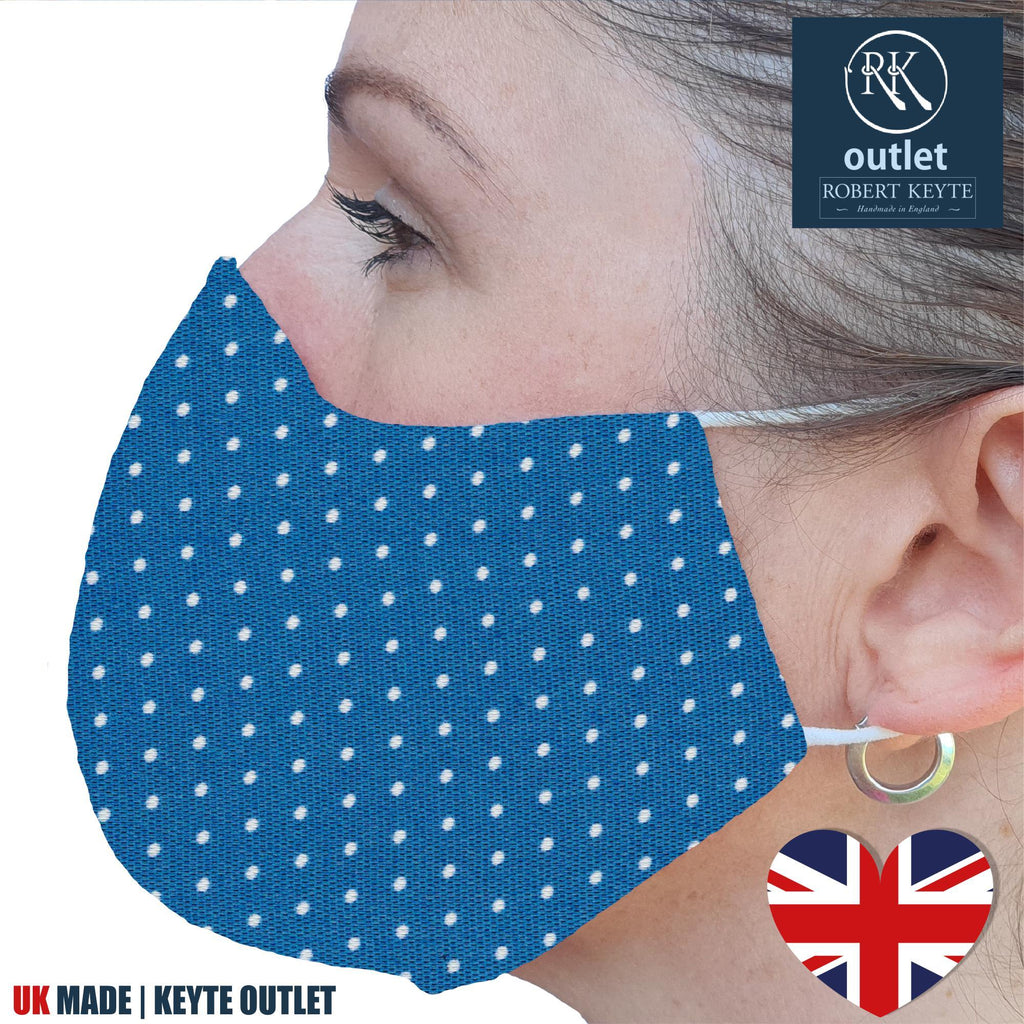Silk Face Mask - Blue Spot Design - 100% Pure Silk - British Made