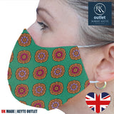 Silk Face Mask - Green Medallion Design - 100% Pure Silk - British Made