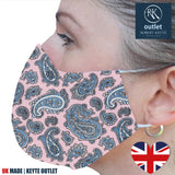 Silk Face Mask - Pink Paisley Design - 100% Pure Silk - British Made