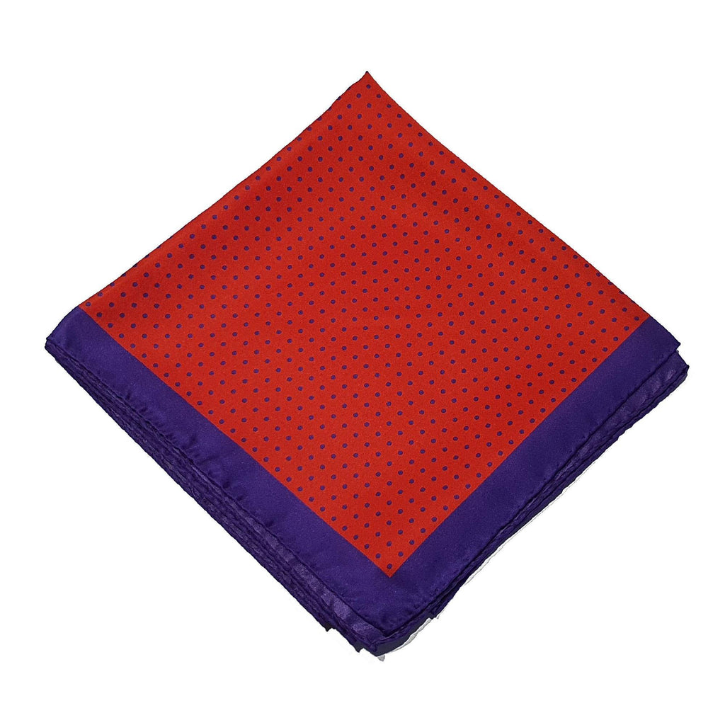 Spot Silk Scarve Red Purple Design - 100% Pure Silk Scarf - British Made