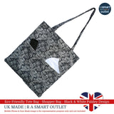 Tote Bag - Black & White Paisley Design - Shopping Bag 100% Pure Cotton - British Made
