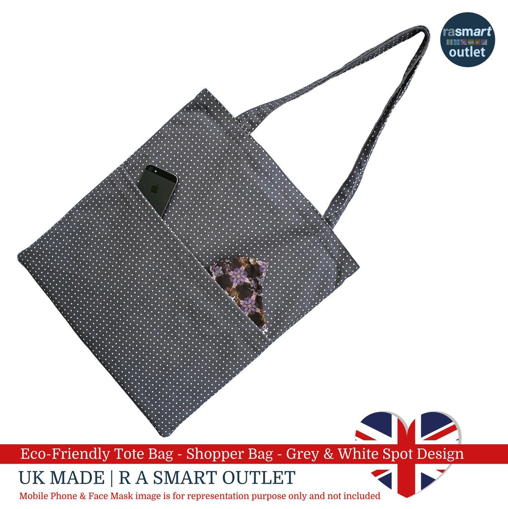 Tote Bag - Grey & White Spot Design - Shopping Bag 100% Pure Cotton - British Made