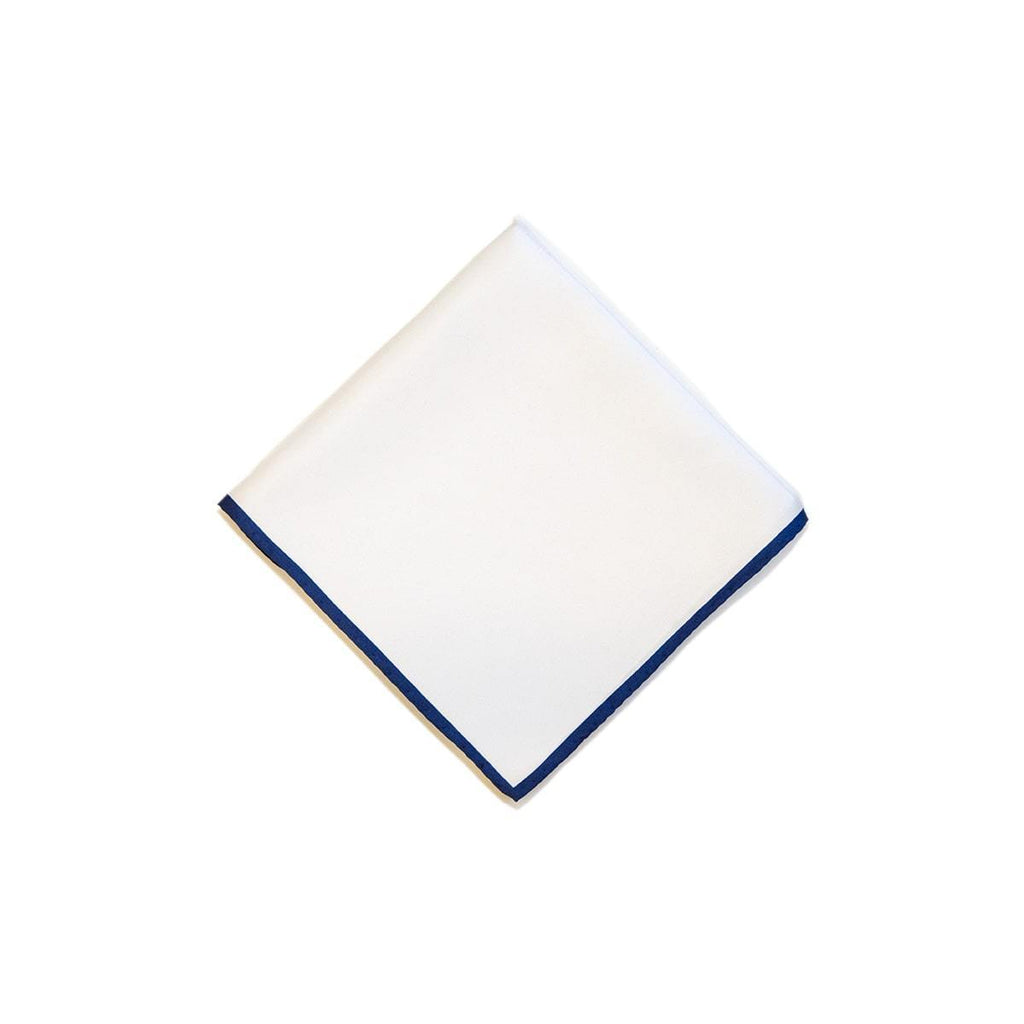 White Blue Shoe String 2 Colour Silk Pocket Square - British Made