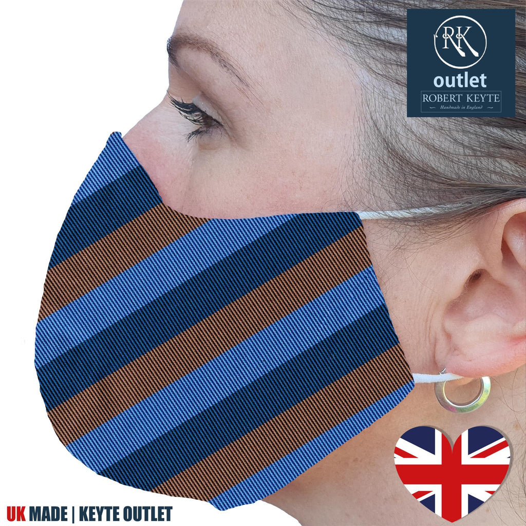 Woven Silk Face Mask - Blue Brown Stripe Design - 100% Pure Silk - British Made