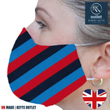 Woven Silk Face Mask - Blue Red Stripe Design - 100% Pure Silk - British Made