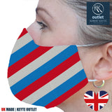 Woven Silk Face Mask - Blue White Red Stripe Design - 100% Pure Silk - British Made