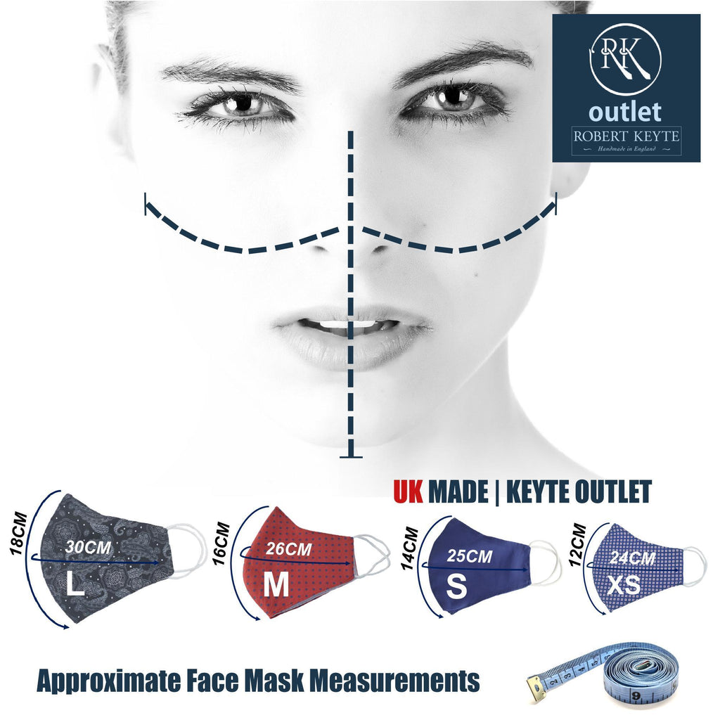 Woven Silk Face Mask - Navy Pheasant Design - 100% Pure Silk - British Made