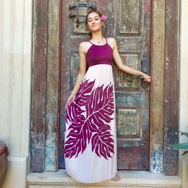 Wine & Cream Halter Maxi