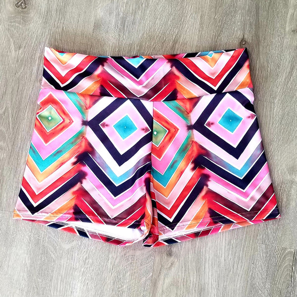 Watercolor chevron swim & workout shorts