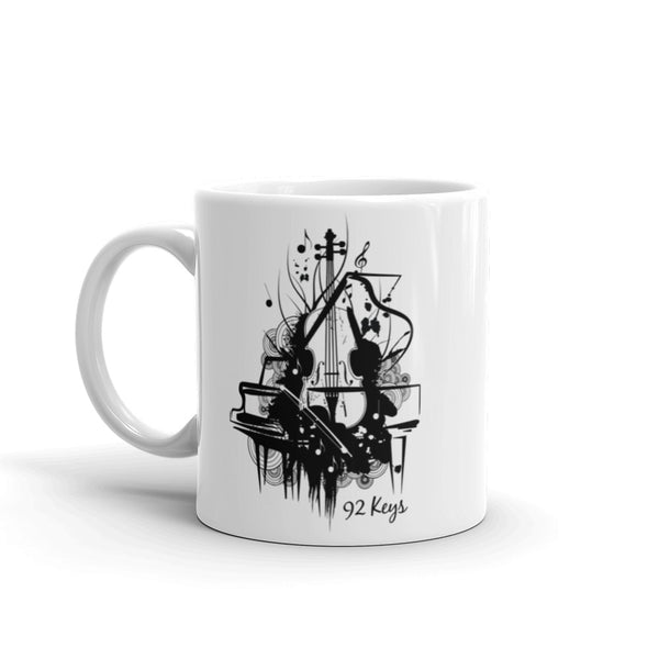 White Mug - Violin & Piano Design - 92 Keys