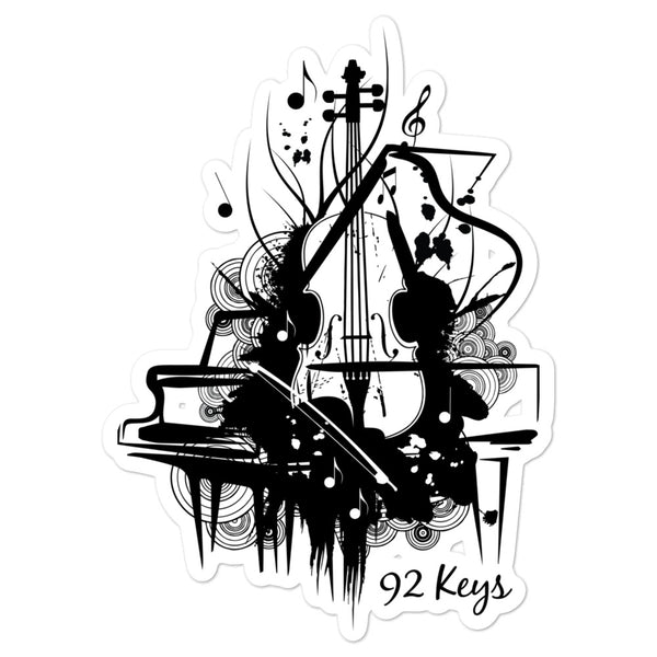 Die-Cut Sticker - Violin & Piano Design - 92 Keys