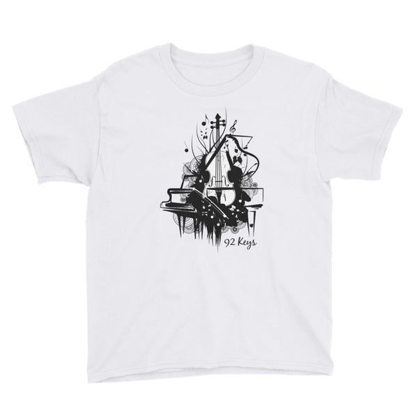 Youth Short Sleeve T-Shirt - Violin & Piano Design - 92 Keys