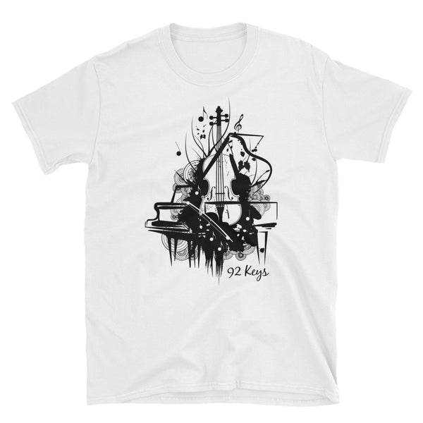 Short-Sleeve Unisex T-Shirt - Violin & Piano Design - 92 Keys