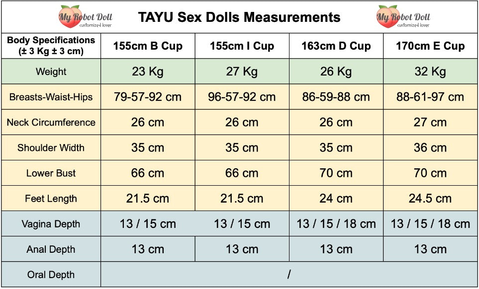 Tayu sex dolls measurements
