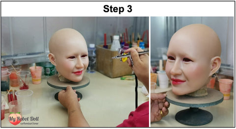 MyRobotDoll.com Spray the paint evenly for the sex doll head to have a ultra realistic human lifelike look