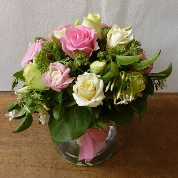Rosy Posy in Glass Vase