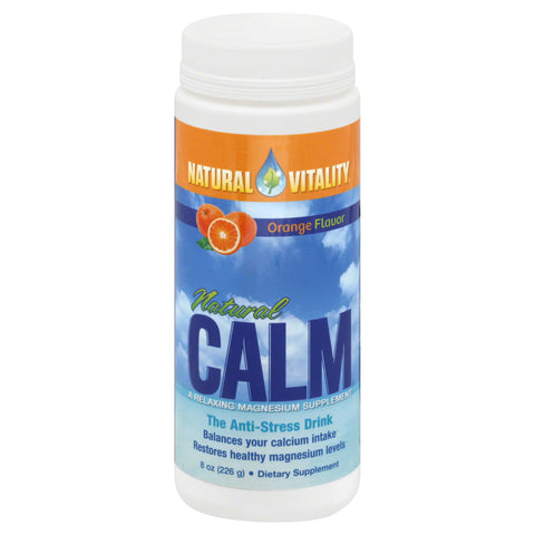 Natural Calm, Magnesium Supplement, Orange Flavor, 8 oz