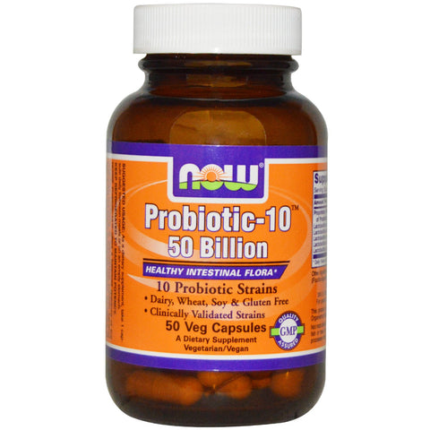 Probiotic-10 Strains, 50 Billion, 50 Vcaps (Now Foods)