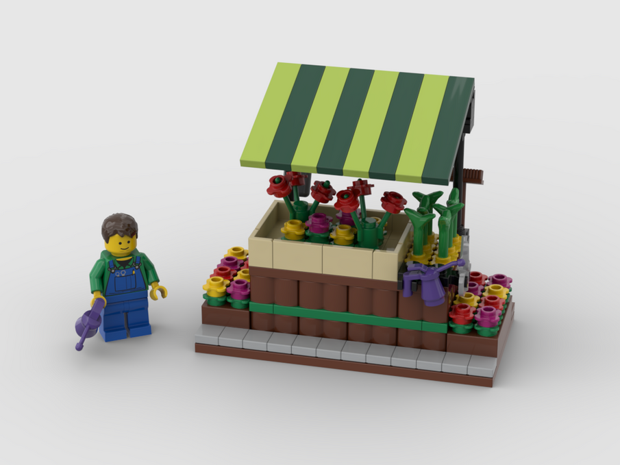 how to build Lego flower cart
