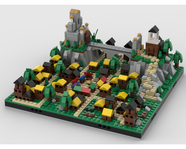 MOC - Medieval town with a Temple diorama - How to build it