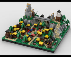 MOC - Medieval town with a Temple diorama