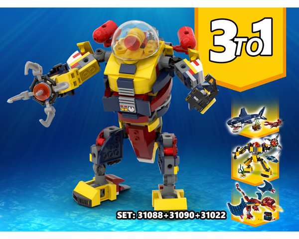 MOC - 3 TO 1 Mega Robot Alternative Build | Build from set 31090 + 31088 + 31102 - How to build it