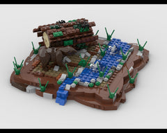 MOC - Bear in fish hunter diorama