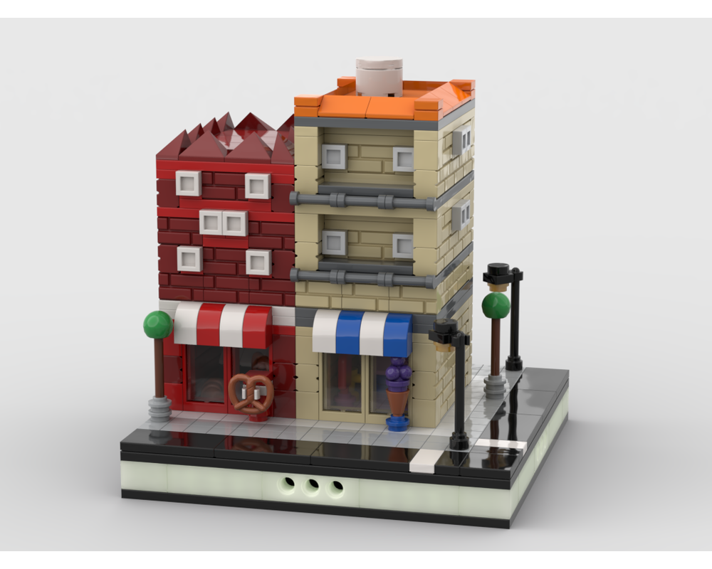 MOC - House with Shops for a Modular City